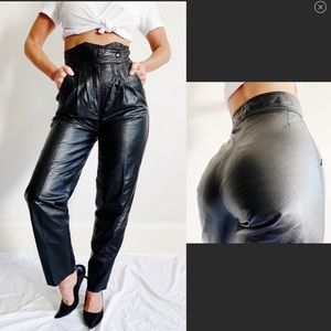 Vintage High Waisted Black Leather Pants C45